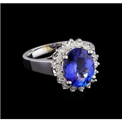 3.53 ctw Tanzanite and Diamond Ring - 14KT White Gold
