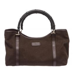 Gucci Brown Fabric Leather Trim Bamboo Shoulder Bag