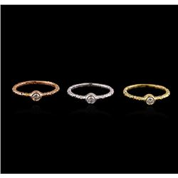 0.49 ctw Diamond Ring Set - 14KT Tri Color Gold