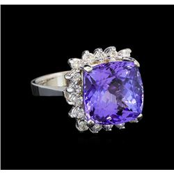 14KT White Gold 8.63 ctw Tanzanite and Diamond Ring