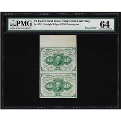 Uncut Pair of 1862 Ten Cents First Issue Fractional Notes PMG Choice Uncirculate