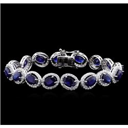 16.95 ctw Blue Sapphire and Diamond Bracelet - 18KT White Gold