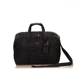 Prada Black Nylon Leather Zipper Strap Travel Duffel Bag
