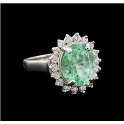 4.66 ctw Emerald and Diamond Ring - 14KT White Gold