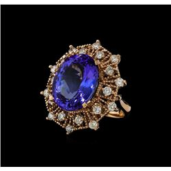15.76 ctw Tanzanite and Diamond Ring - 14KT Rose Gold