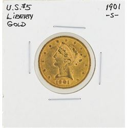 1901-S $5 Liberty Head Half Eagle Gold Coin