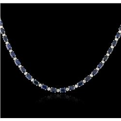 14KT White Gold 30.00 ctw Sapphire and Diamond Necklace