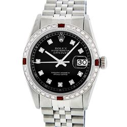 Rolex Stainless Steel 1.00 ctw Diamond and Ruby DateJust Men's Watch