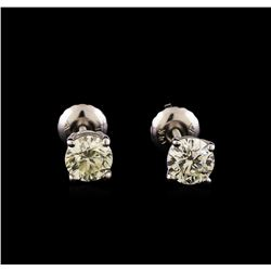 14KT White Gold 1.03 ctw Diamond Solitaire Earrings
