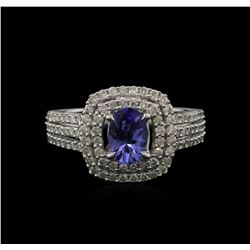 0.82 ctw Tanzanite and Diamond Ring - 14KT White Gold