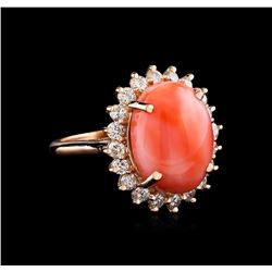 7.06 ctw Coral and Diamond Ring - 14KT Rose Gold