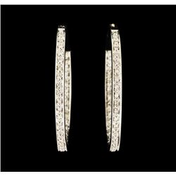 0.70 ctw Diamond Hoop Earrings - 14KT White Gold