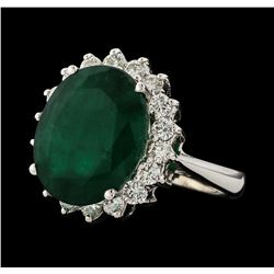 6.88 ctw Emerald and Diamond Ring - 14KT White Gold