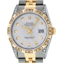 Rolex Mens Two Tone Diamond Lugs Silver Diamond Lugs Pyramid Bezel Datejust Wris