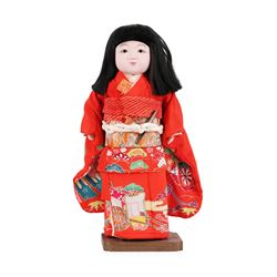 Vintage Japanese Hand Painted Ichimatsu Porcelain Geisha Girl Doll with Silk Kim