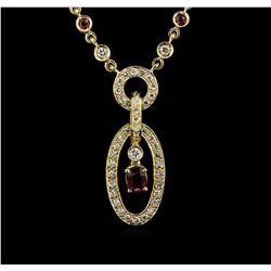 1.00 ctw Ruby and Diamond Necklace - 18KT Yellow Gold