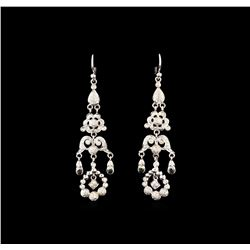 1.30 ctw Quartz and Diamond Earrings - 18KT White Gold