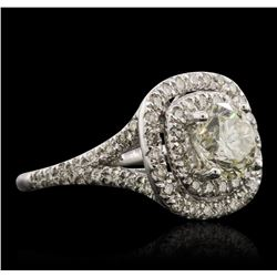 14KT White Gold EGL Certified 2.45 ctw Round Brilliant Cut Diamond Ring