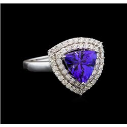 14KT White Gold 1.82 ctw Tanzanite and Diamond Ring