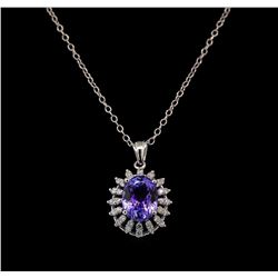 7.13 ctw Tanzanite and Diamond Pendant and Chain - 14KT White Gold