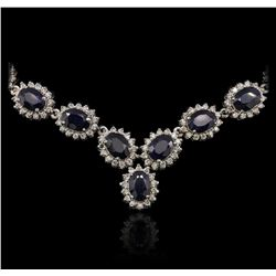 14KT White Gold 30.71 ctw Sapphire and Diamond Necklace