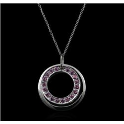 14KT White Gold 1.00 ctw Pink Sapphire Pendant With Chain