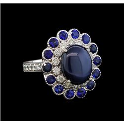 14KT White Gold 9.12 ctw Blue Star Sapphire and Diamond Ring