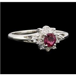 0.30 ctw Ruby and Diamond Ring - Platinum
