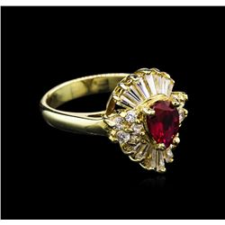 0.80 ctw Ruby and Diamond Ring - 14KT Yellow Gold