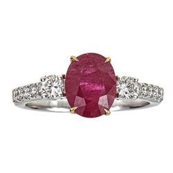 2.99 ctw Ruby and Diamond Ring - 18KT White and Yellow Gold