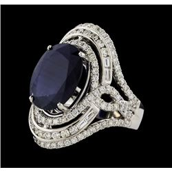 9.07 ctw Sapphire and Diamond Ring - 14KT White Gold