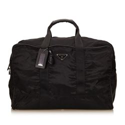 Prada Black Nylon Leather Zipper Travel Duffle Bag