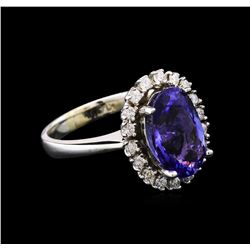 4.05 ctw Tanzanite and Diamond Ring - 14KT White Gold