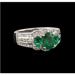 14KT White Gold 1.06 ctw Emerald and Diamond Ring