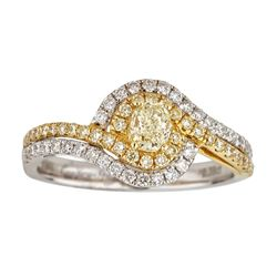 0.93 ctw Yellow and White Diamond Ring - 18KT White and Yellow Ring