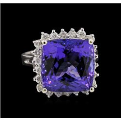 14KT White Gold 12.95 ctw GIA Certified Tanzanite and Diamond Ring