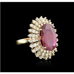 14KT Yellow Gold 19.11 ctw Ruby and Diamond Ring