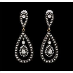 1.21 ctw Diamond Earrings - 14KT Rose With Black Rhodium Gold