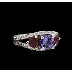 1.27 ctw Ruby, Tanzanite, and Diamond Ring - 14KT White Gold