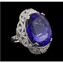 GIA Cert 45.32 ctw Tanzanite and Diamond Ring - 14KT White Gold