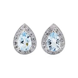 2.00 ctw Aquamarine and Diamond Earrings - 14KT White Gold
