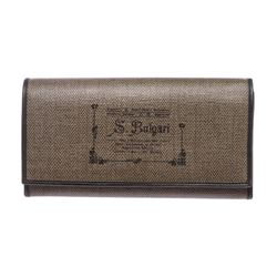 Bvlgari Dark Brown Coated Canvas Graphic Print Long Wallet