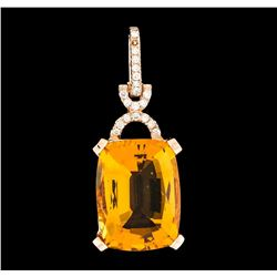 8.68 ctw Citrine and Diamond Pendant - 14KT Rose Gold
