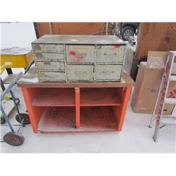 Wooden Work Bench and 8 Drawer Wood Cabinet