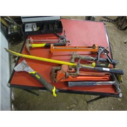Lot of Hammers,PryBar,Pipe Wrencher