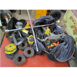 2 Tool Bags- Tie Wire,Cut off Blades,Prybar,Tire Wrench