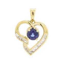 18KT Yellow Gold 0.58 ctw Sapphire and Diamond Heart Pendant