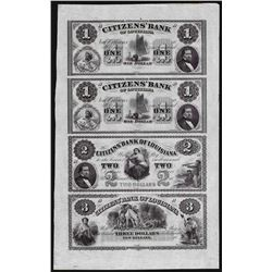 Uncut Sheet of $1/$1/$2/$3 Citizens Bank of Louisiana Obsolete Notes