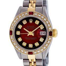 Ladies Rolex Two Tone Red Vignette Diamond and Ruby Datejust Wristwatch