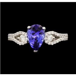 18KT White Gold 1.68 ctw Tanzanite and Diamond Ring